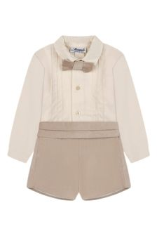 Baby Boys Beige Cotton Shorts Set