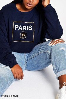 River Island Paris Foil Box Cropped Sweater