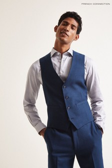 French Connection Blue Slim Fit Flannel Waistcoat