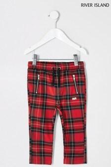 River Island Mini Boys Red Tartan Trousers