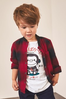 Long Sleeve Check Shirt And T-Shirt Set (3mths-7yrs)