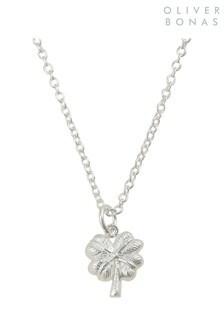 Oliver Bonas Sterling Silver Four Leaf Clover Pendant Necklace