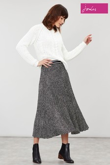 Joules Black Eila Pleated Elastic Waistband Skirt