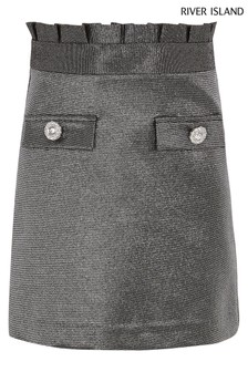 River Island Silver Metallic Paperbag Skirt