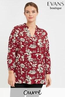 Evans Curve Berry Floral Shirt