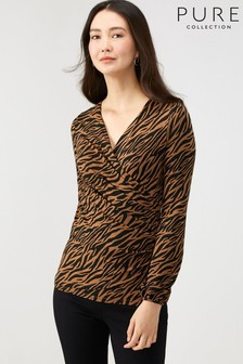 Pure Collection Animal Jersey Gathered Cuff Wrap Top