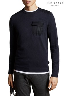 Ted Baker Navy Crew Knitted Jumper
