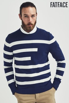 FatFace Blue Folk Knitted Crew