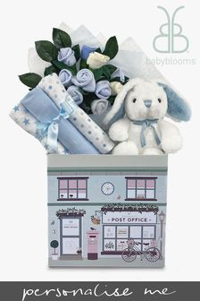 Babyblooms New Baby Blue Welcome Hamper With Personalised Bunny Soft Toy