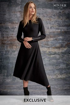 Sonder Black Rib Asym Dress