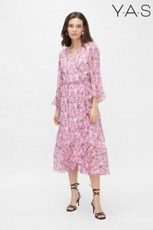 Y.A.S Sustainable Pink Floral Esmerelda Wrap Dress