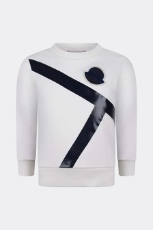 Moncler Enfant Boys Ivory Cotton Logo Sweater