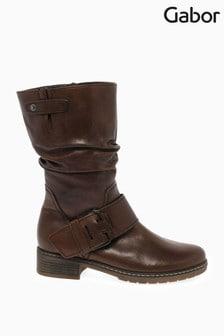 Gabor Brown Diane Medium Calf Fit Leather Mid Leg Boots