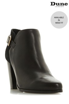Dune London Black Oleria Wide Fit Buckle Strap Boots