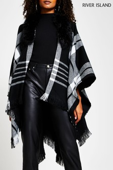 River Island Black Check Cape With Faux Fur Collar