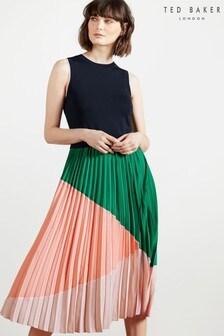 Ted Baker Indigo Contrast Pleat Mockable Midi Dress