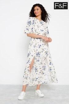 F&F Ivory/Blue Pretty Floral Dress