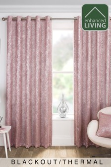 Halo Velvet Metallic Textured Print Eyelet Blackout/Thermal Curtains