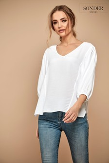 Sonder Studio Cream Batwing Volume Sleeve Top