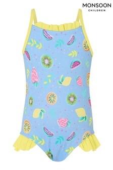 Monsoon Blue Baby Fruit Print Frill Swimsuit