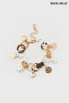 White Stuff Wicker Heart Charm Bracelet
