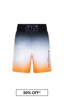 Givenchy Kids Boys Black Cotton Shorts