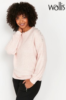 Wallis Pink Pearl Effect Shoulder Knitty Jumper