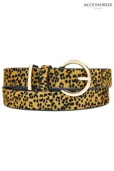 Accessorize Leopard Leopard Leather Jeans Belt
