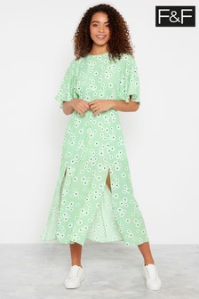 F&F Mint Floral Midi Dress