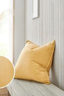 Ochre Yellow Cotton Linen Blend Cushion