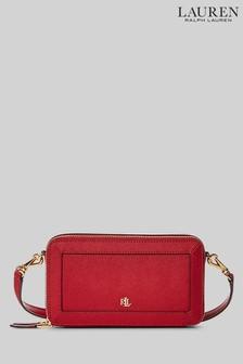 Lauren Ralph Lauren Red Danna Crosshatch Leather Cross-body Bag