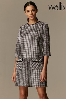 Wallis Pink Monochrome Jacquard Check Shift Dress
