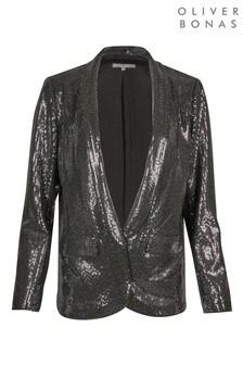 Oliver Bonas Black Sequin Blazer