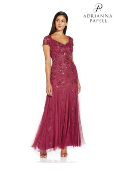 Adrianna Papell Purple Beaded Covered Gown
