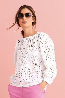 Broderie Long Sleeve Top