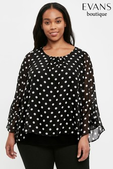 Evans Curve Black Spot Overlay Frill Sleeve Top