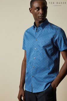 Ted Baker Blue Weare Short Sleeve Floral Print Shirt