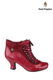 Hush Puppies Red Vivianna Lace-Up Heeled Boots