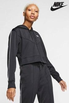 Nike Heritage Black Poly Zip Through Hoody