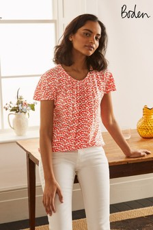 Boden Red Florence Top