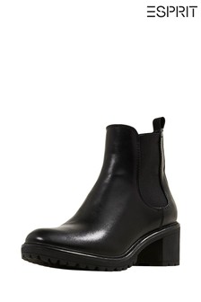 Esprit Black Asti Chelsea Booties With Side Elasticated Inserts