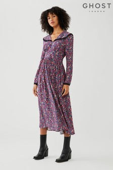 Fable Paisley Ditsy Print Crepe Georgette Dress