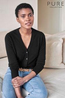 Pure Collection Black Cashmere V-Neck Cardigan