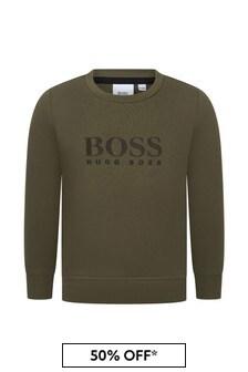 Boss Kidswear BOSS Boys Green Cotton Sweat Top