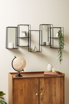 Black Wire Mirrored Shelf
