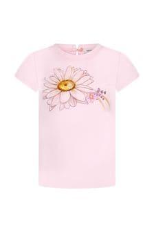 Monnalisa Baby Girls Pink Cotton Girls T-Shirt