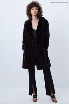 French Connection Purple Banna Faux Fur Long Coat