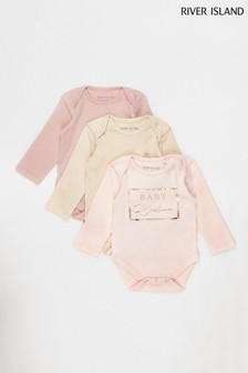 River Island Light Pink Long Sleeve Bodysuits 3 Pack