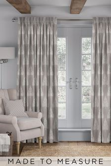 Coco Pewter Natural Made To Measure Curtains