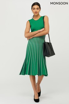 Monsoon Green Mimi Rib Stripe Dress